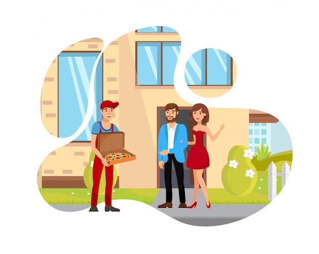 Uomo che consegna l'illustrazione isolata piano dell'alimento Vettore Premium