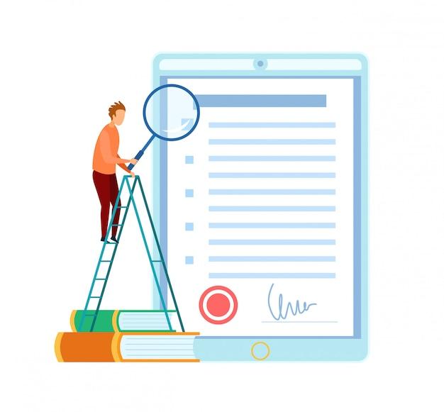 Uomo che controlla l'illustrazione piana del contratto d'affari Vettore Premium