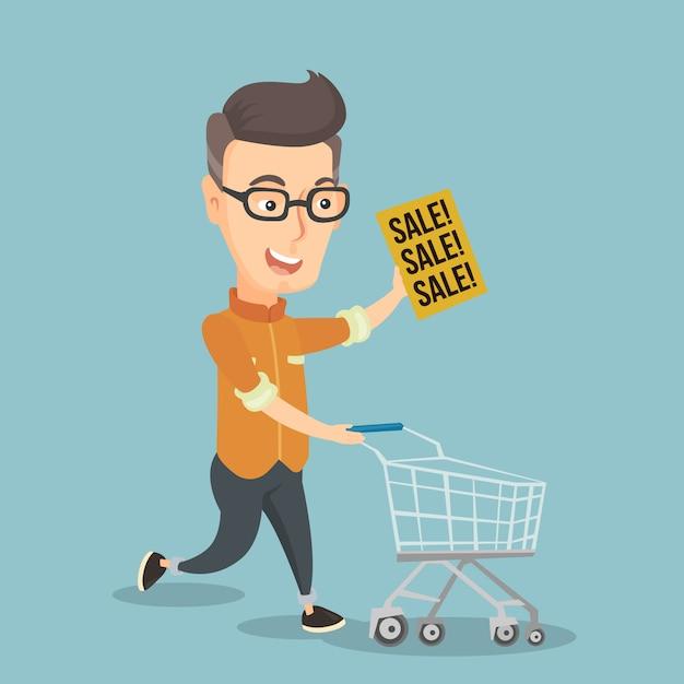 Uomo che corre in fretta al negozio in vendita. Vettore Premium