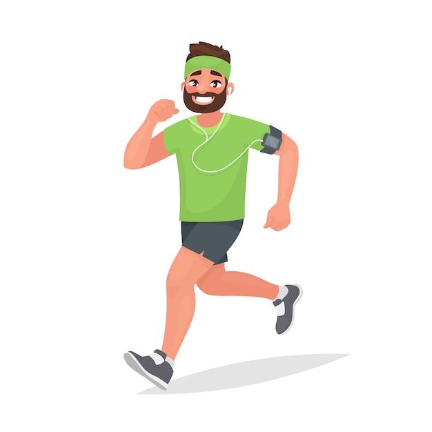 Uomo che corre. una persona è impegnata nel fitness. jogging mattutino Vettore Premium