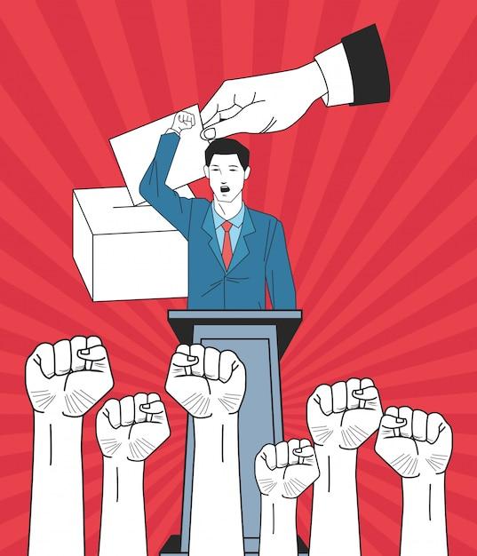 Uomo che fa un discorso con le mani alzate dei pugni e voto Vettore Premium