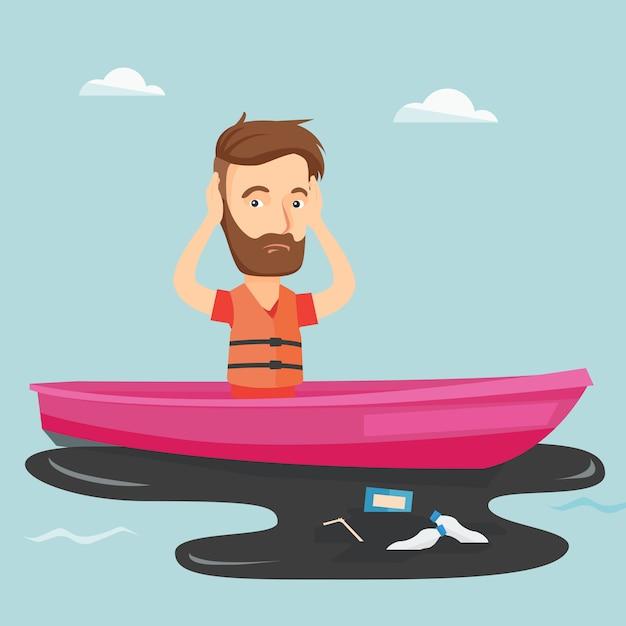 Uomo che galleggia in una barca in acqua inquinata. Vettore Premium