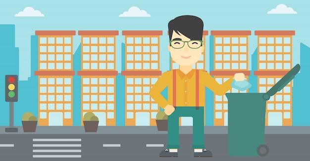 Uomo che getta via l'illustrazione di vettore dei rifiuti. Vettore Premium