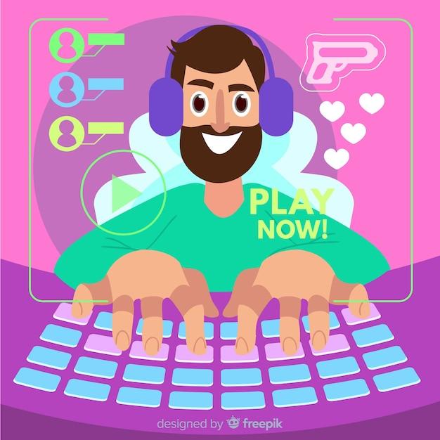 Uomo che gioca sul suo computer Vettore gratuito