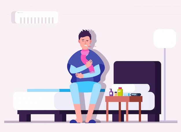 Uomo che ha raffreddore o influenza. malattia invernale, malato, paziente con termometro. concetto medico di vettore di prevenzione di virus di influenza Vettore Premium
