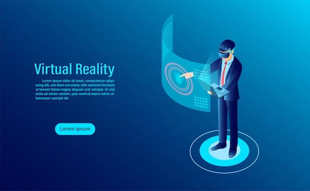 Uomo che indossa occhiali di protezione con interfaccia commovente nel mondo della realtà virtuale. tecnologia del futuro Vettore Premium