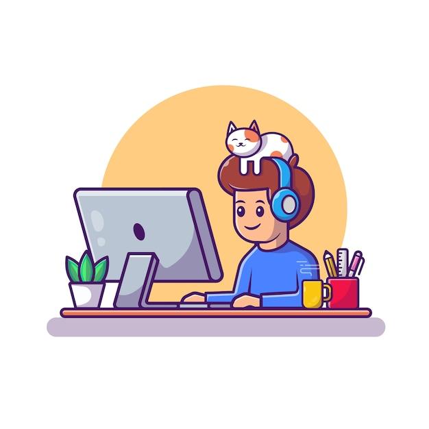 Uomo che lavora all'illustrazione dell'icona del computer portatile. personaggio dei cartoni animati di lavoro da casa mascotte. concetto dell'icona della gente isolato Vettore Premium