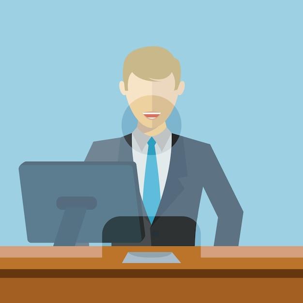Uomo che lavora come impiegato di banca Vettore Premium