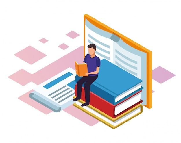 Uomo che legge un libro con grandi libri intorno su sfondo bianco, colorato isometrico Vettore Premium