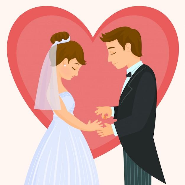 Uomo che mette un anello al dito di una donna Vettore Premium