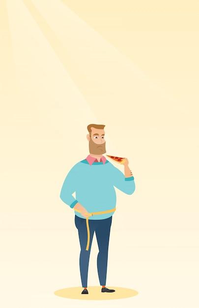 Uomo che misura la vita Vettore Premium