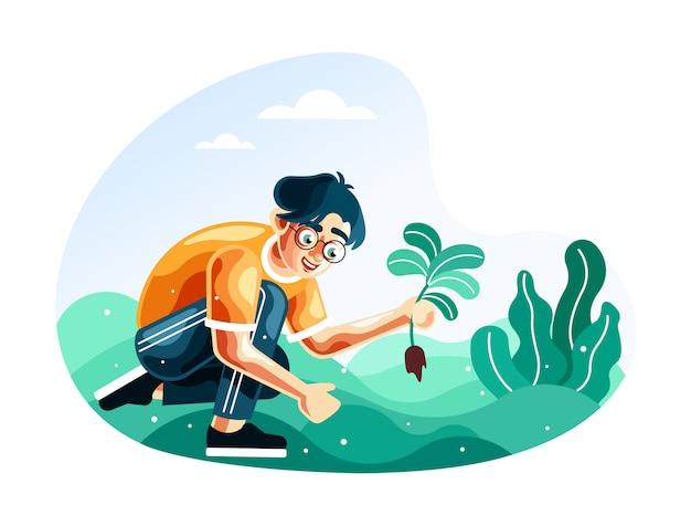 Uomo che pianta le piante per l'illustrazione di rimboschimento con un nuovo stile di vettore del fumetto Vettore Premium