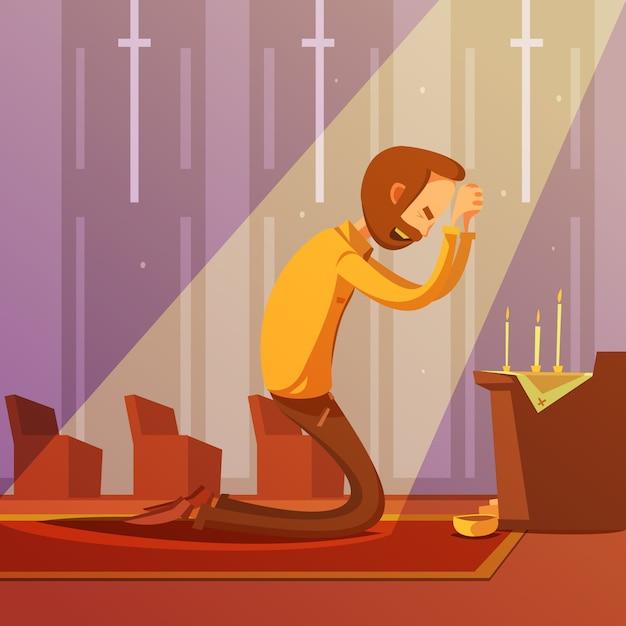 Uomo che prega in ginocchio in una chiesa cristiana Vettore gratuito