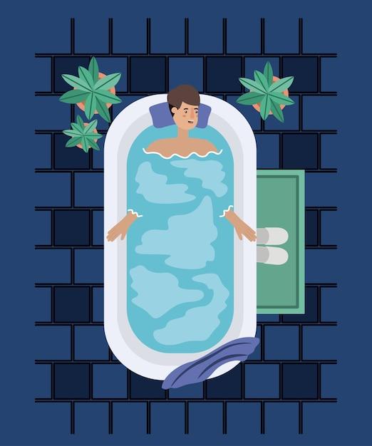Uomo In Vasca Da Bagno.Uomo Che Prende Una Progettazione Dell Illustrazione Di Vettore