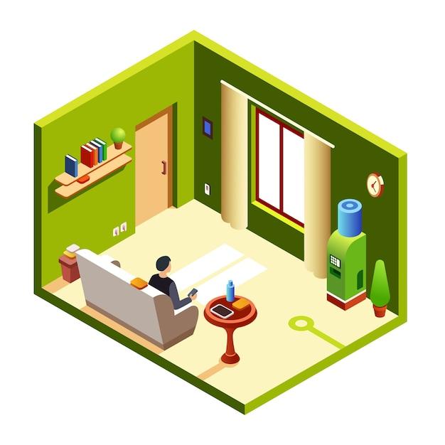 Uomo che si siede sul divano, divano che riposa smartphone, tavoletta di pranzo al comodino Vettore gratuito