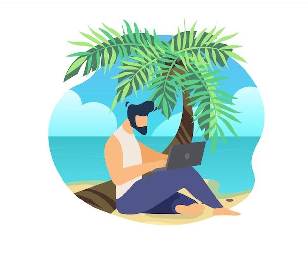 Uomo che si siede sul tronco di palma al lavoro in spiaggia sul portatile Vettore Premium