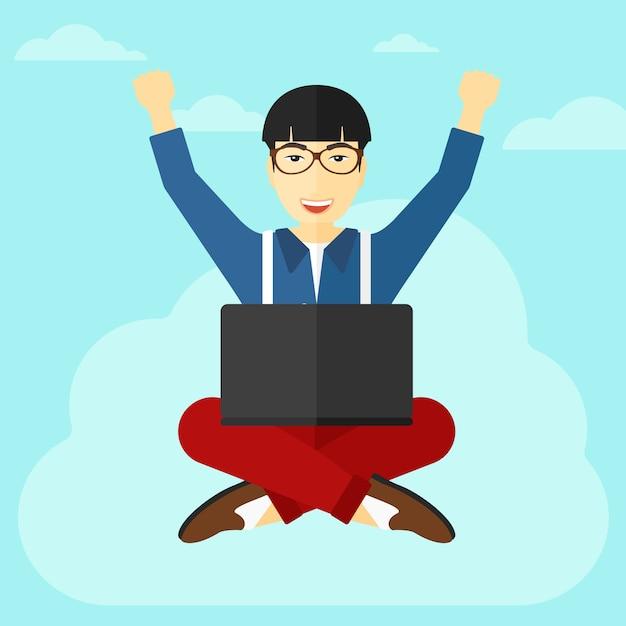 Uomo che si siede sulla nuvola con il computer portatile. Vettore Premium