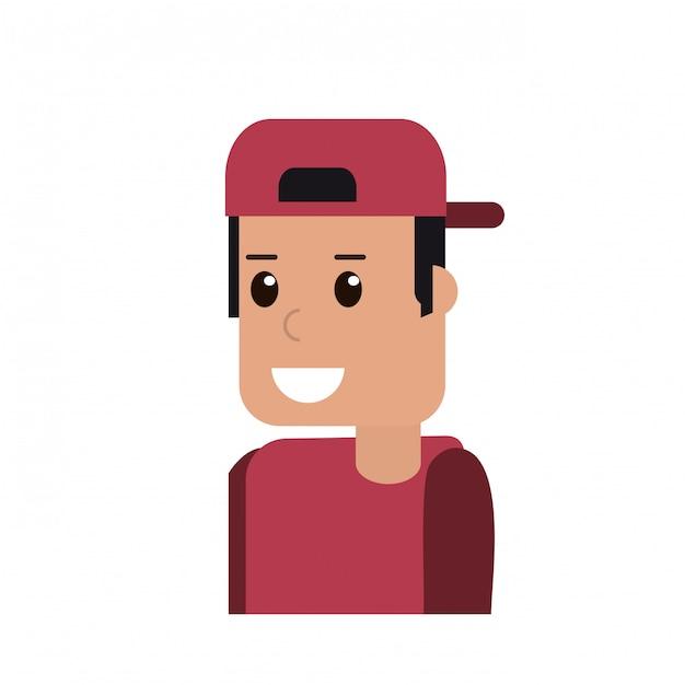 Uomo che sorride con il fumetto di cappello indietro Vettore Premium