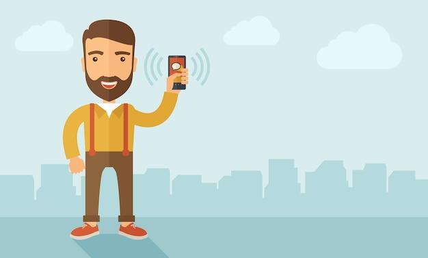 Uomo che tiene smartphone. Vettore Premium