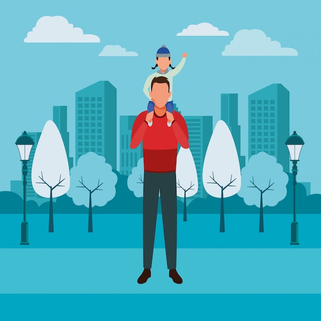 Uomo che trasporta bambino sulla spalla Vettore Premium