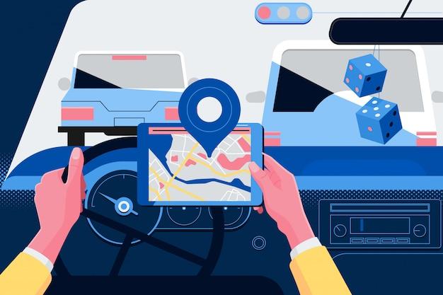 Uomo che usando il sistema di navigazione durante la guida di un'auto Vettore Premium