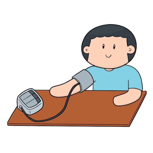 Uomo che utilizza il monitor della pressione sanguigna Vettore Premium