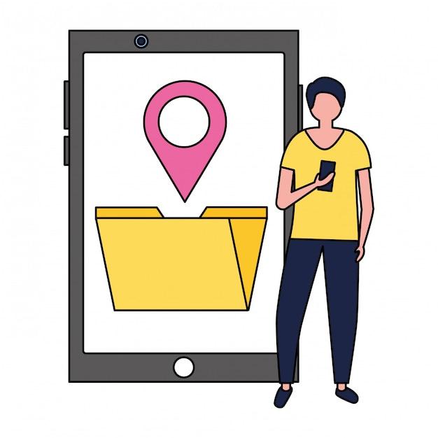 Uomo che utilizza un supporto di localizzazione file di cartelle mobili Vettore Premium