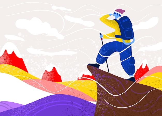 Uomo con borsa sulla roccia. sport estremi all'aperto. scalare le montagne. Vettore Premium