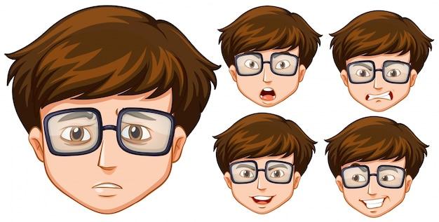 Uomo con cinque diverse espressioni facciali Vettore gratuito