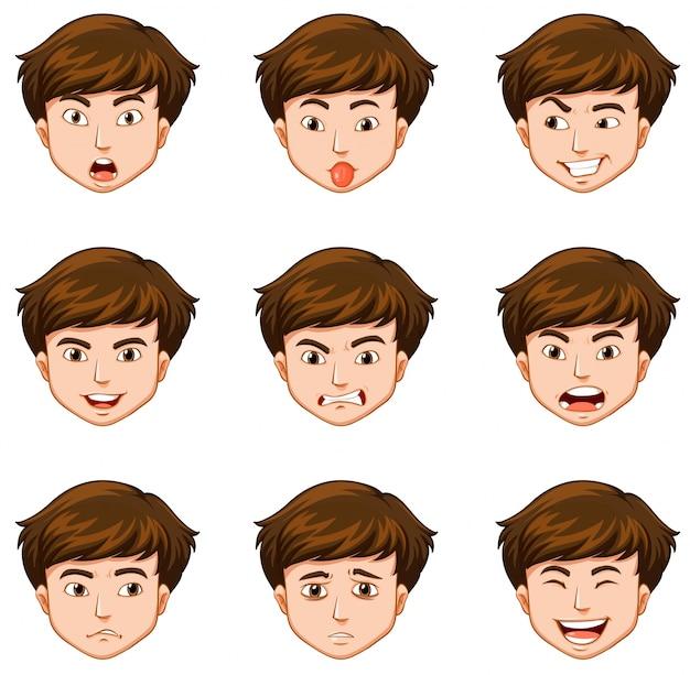 Uomo con diverse espressioni facciali Vettore gratuito