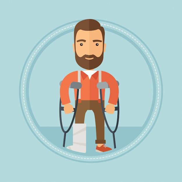 Uomo con gamba rotta e stampelle Vettore Premium