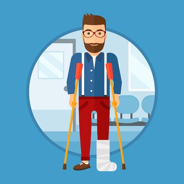 Uomo con gamba rotta e stampelle. Vettore Premium