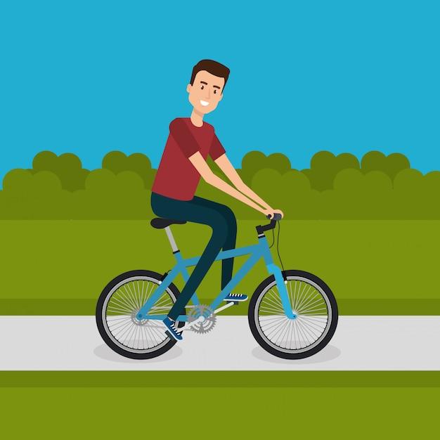 Uomo con la bicicletta nel paesaggio Vettore gratuito