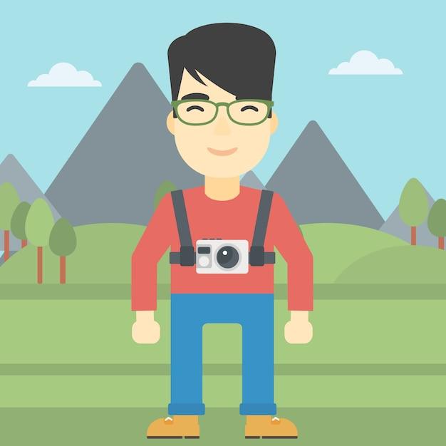 Uomo con la macchina fotografica sul petto Vettore Premium
