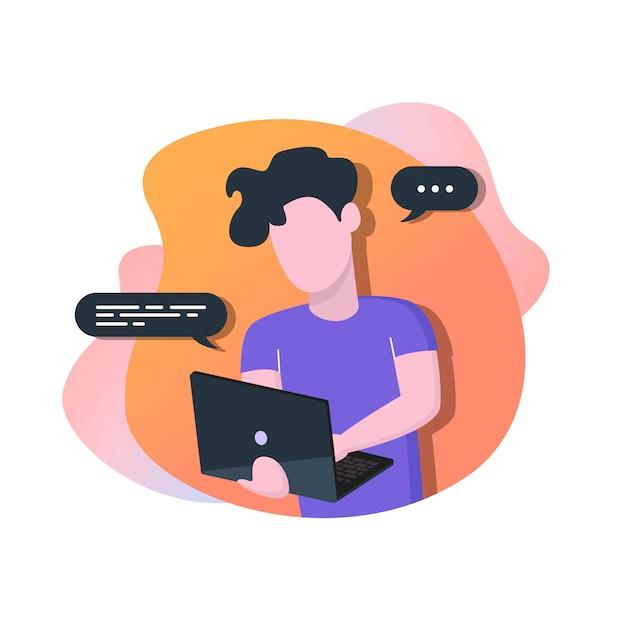 Uomo con laptop Vettore Premium
