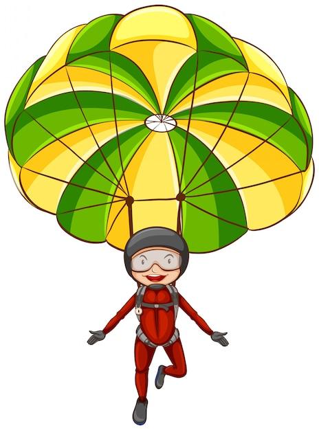 Uomo con paracadute Vettore gratuito