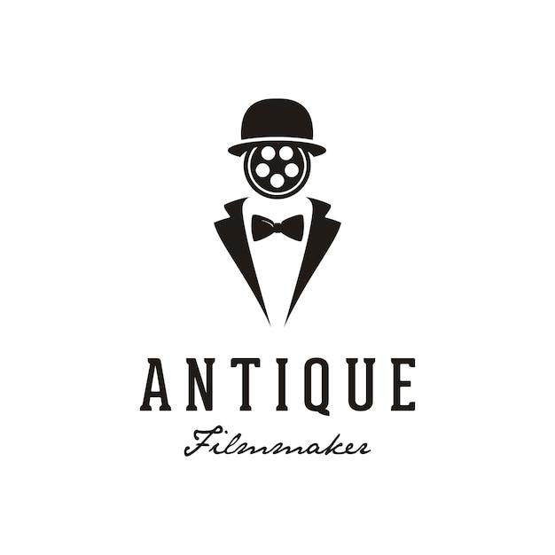Uomo con reel film face per il design del logo di produzione cinematografica. Vettore Premium