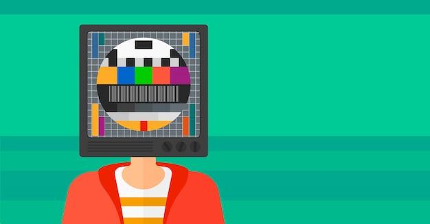 Uomo con testa di tv. Vettore Premium
