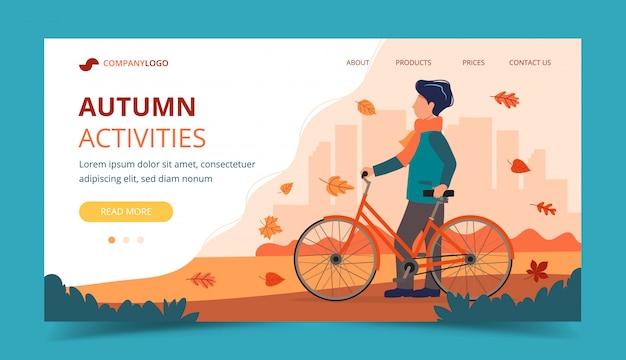 Uomo con una bici in autunno. modello di pagina di destinazione. Vettore Premium
