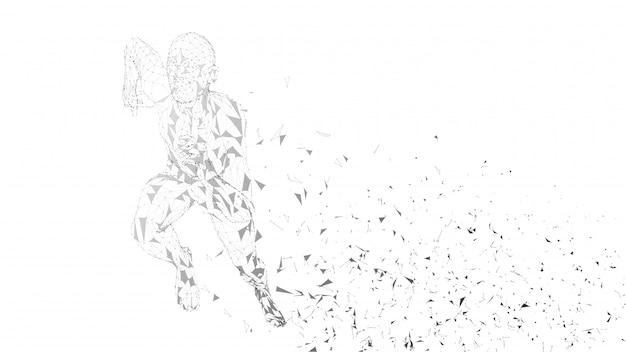 Uomo corrente astratto concettuale. runner con linee collegate, punti, triangoli. intelligenza artificiale, concetto di sport digitale. sfondo digitale vettoriale ad alta tecnologia. Vettore Premium