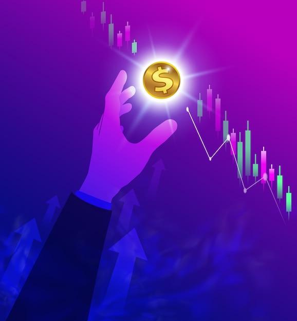Uomo d'affari afferrando un dollaro di denaro Vettore Premium