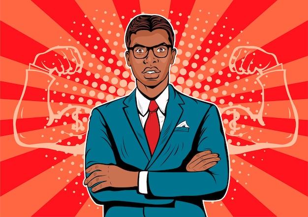 Uomo d'affari afro americano di pop art Vettore Premium