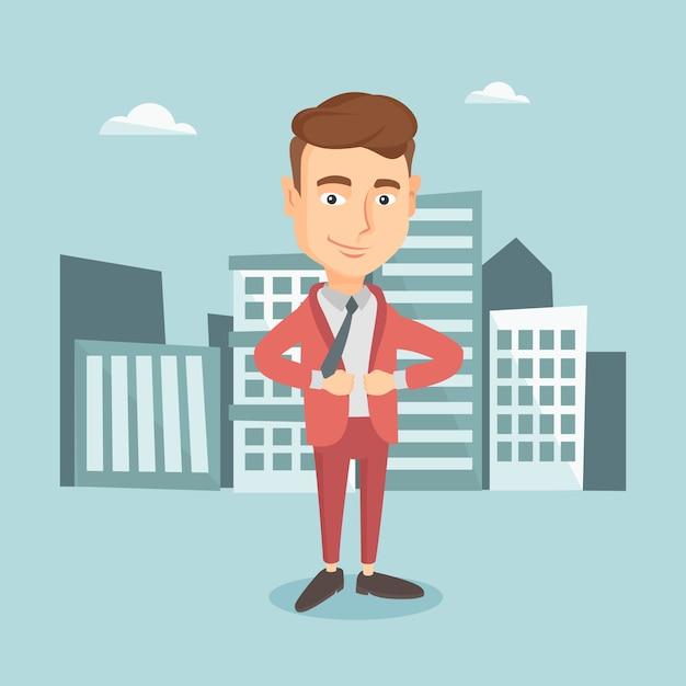 Uomo d'affari aprendo la giacca come un supereroe. Vettore Premium