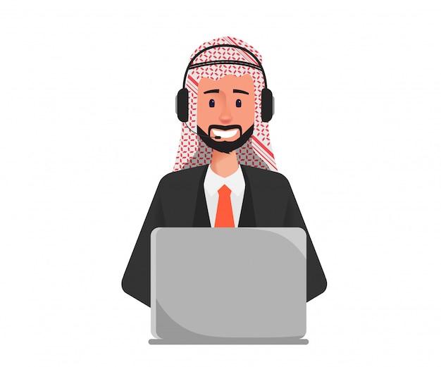 Uomo d'affari arabo in call center al personaggio del servizio clienti. Vettore Premium