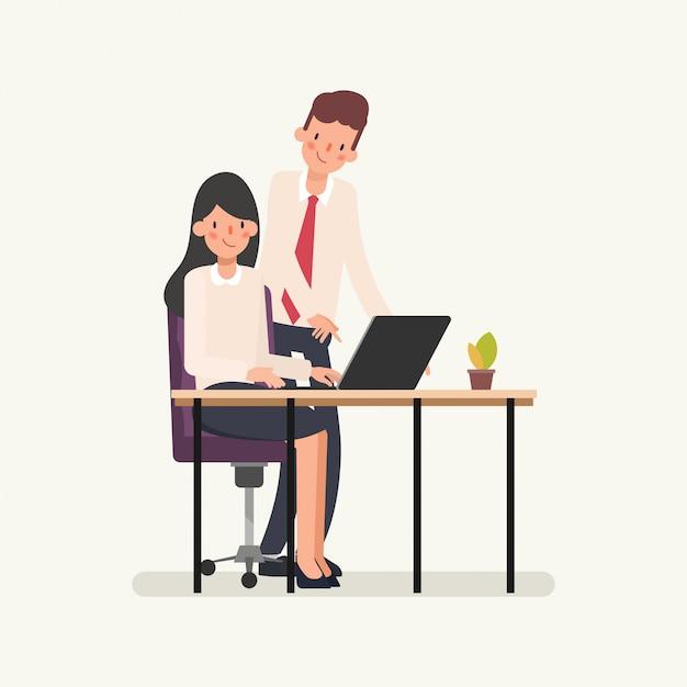 Uomo d'affari assegnare lavoro alla donna d'affari. Vettore Premium