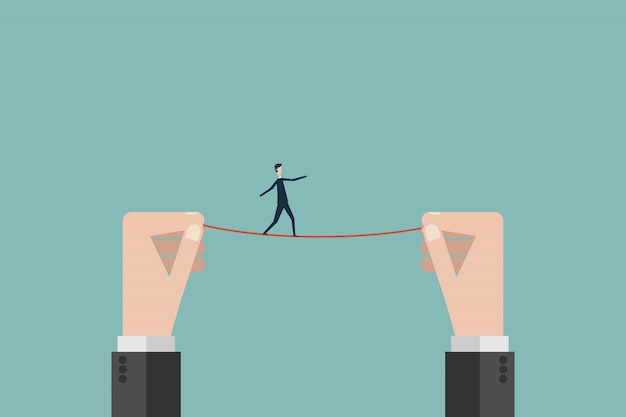 Uomo d'affari cammina su una corda tesa alta filo Vettore Premium