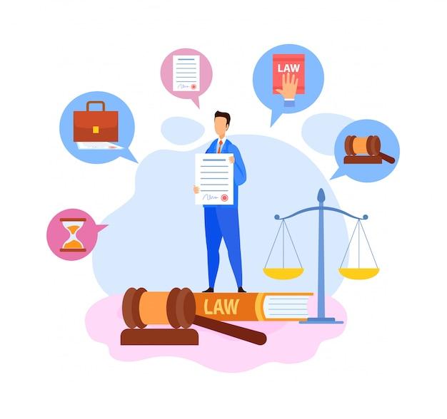 Uomo d'affari, capo che mostra il carattere di termini del contratto Vettore Premium