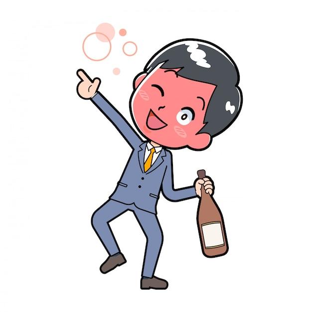 Uomo d'affari che beve alcol Vettore Premium