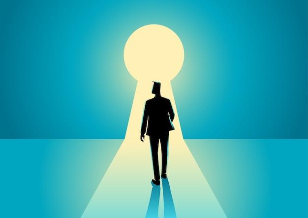 Uomo d'affari che cammina nel buco della serratura Vettore Premium