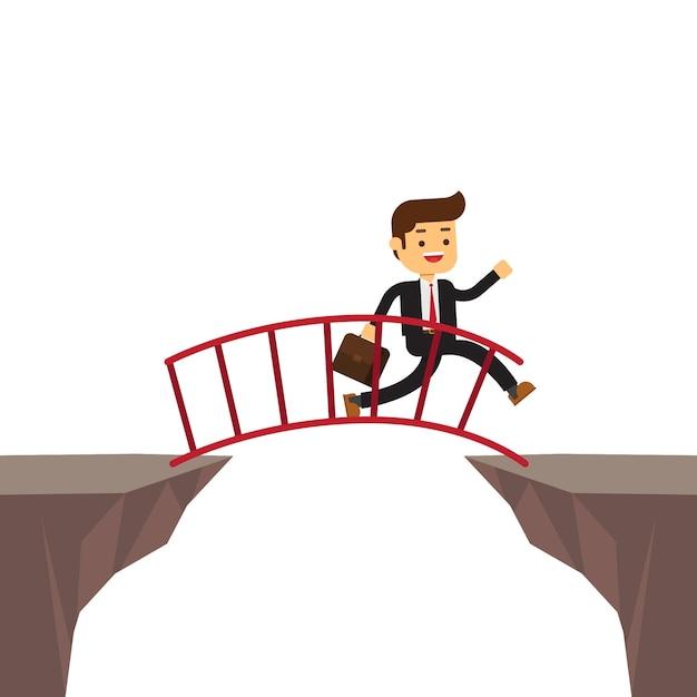 Uomo d'affari che cammina sulla scala da attraversare Vettore Premium